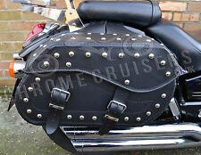 MOTORCYCLE BLACK LEATHER SADDLEBAGS CASE PANNIERS TRIUMPH THUNDERBIRD ROCKET C12