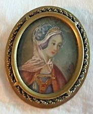 SIGNED Antique Miniature Oil Painting Portrait Victorian Brooch Pin Brass Frame