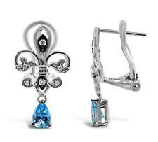 Le vian ® серьги-голубой топаз, шоколад/ваниль бриллианты ® - 14K ваниль золото ®