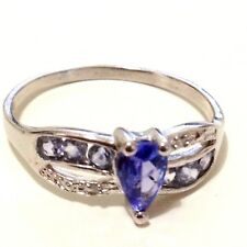 Rings: 0.62ct TW Genuine Tanzanite Real 925 Sterling Silver Engagement Ring