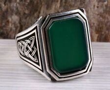 Turkish Handmade Jewelry 925 Sterling Silver Emerald Mens Ring  ALL SIZE #1568