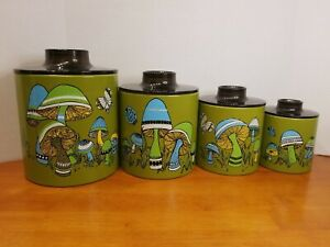 Vintage Ransburg Tin Canister Set 4 Metal Mid Century Green Blue White Mushrooms