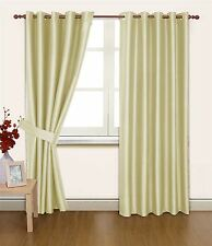 CREAM FAUX SILK 90X90 THERMAL LINED BLACKOUT HEAVYWEIGHT RING TOP CURTAINS