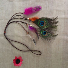 Bohemian Peacock Feather Braided Headband Hair Head Band Accessories For Girl TO