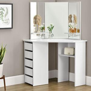 Schminktisch Kosmetiktisch Frisiertisch Kommode Ecke Weiß Modern Spiegel Juskys®