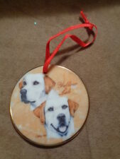 Ornament YELLOW LAB The Dog Show Collection Flat Porcelain Chris Hoy Limited Ed
