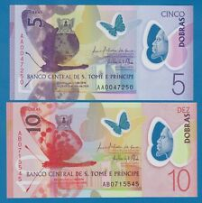 SAINT THOMAS AND PRINCE 2 Notes 5 + 10  P New 2016 / 2018 UNC Polymer St. Tome &
