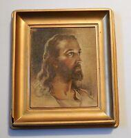 Jesus Laminart Signed Picture in Gold Plastic Frame Sallman 1935 Vintage