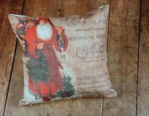 NWT Ragon RED Santa Victorian Toy Newsprint Advertisement CHRISTMAS THROW PILLOW