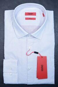 Hugo Boss Men's Kenno Slim Fit Red/Blue Spotted Stretch Cotton Dress Shirt 41 16