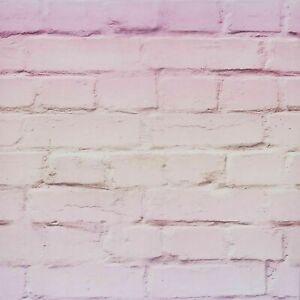 Arthouse Realistic Ombre Rustic Stone Brick Wall Effect Pink Wallpaper 909706
