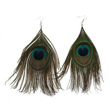 1 Pair Peacock Multicolor Feather Fashion Dangle Earrings M2C2