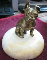 Antique SOLID BRONZE 19th Century OLD ENGLISH BULLDOG 55mm Figure on Marble Base