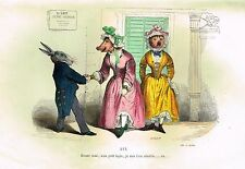 "Grandville Print - ""ECOUTE DONC"" - RABBIT & PIG - Colored Lithogrpah - 1842"