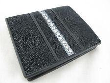 Genuine Row Stingray Skin Leather Mens Bifold Card Wallet Black + FREE SHIPPING