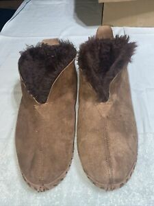 Mens LL BEAN Wicked Good Shearling Lined Bootie Boot Slippers BROWN 12W