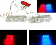 2x 3 Led RED BLUE STROBE Dual Mode Car Emergency Warning light For BMW