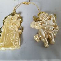 3 Kings and Angel Gold Filigree Back White Plastic Front Christmas Ornaments