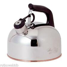 Revere 2-1/3 Quart Polished Stainless Steel Traditional Whistling Tea Kettle
