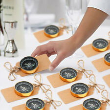50x Gold Compass with Tags Travel Themed Wedding Favors for Guests Souvenir Gift