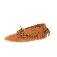 ANNIEL Suede Leather Flat Shoes EU 37 UK 4 US 7 Fringe Slip On Made in Italy