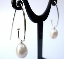 GENUINE LARGE WHITE FRESHWATER PEARLS STERLING SILVER HOOP EARRINGS DROP PEARL
