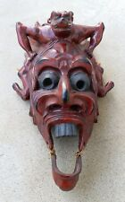 Antique Chinese or Japanese wooden vintage  mask use for dance performance