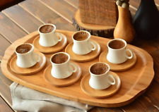 Turkish Coffee Cup Porcelain Set Bamboo Platter 6 Piece