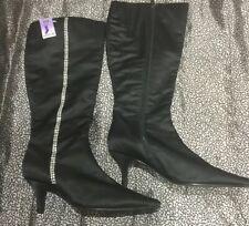 Next Wide Fit Black Crystal Embellished Boots. New.