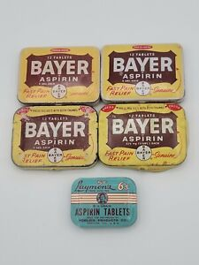 Collectible Lot Of 5 Aspirin Tins  Laymon's 6 count 5 cents & Bayer 12 count