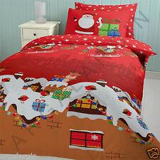 Santa Christmas Presents Single Duvet Cover Set Red Xmas Reindeer Sleigh Festive