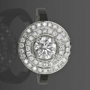 2.32 CT VS1 D DIAMOND RING HALO APPRAISED FLAWLESS 4 PRONG 14K WHITE GOLD ROUND