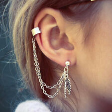 Women Chic Punk Silver Dangle Ear Cuff Clip Stud Wrap Earring with Chain