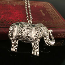 Women's Fashion Silver Elephants Pendant Sweater Chain Retro Necklace Jewelry .