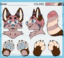 Fursuit Reference Sheet (p2u lines) Digital Art Character OC Furry Adoptable