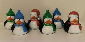 """New Penguin Rubber Duck 2"""" Santa Hat Ducky Stocking Stuffer Squirter Lot Of 6"""