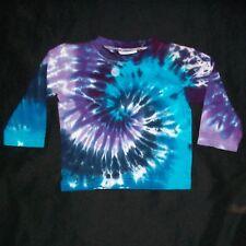 Organic Tie Dye Baby Long Sleeve T-Shirt 12 month Blue & Purple Hand Tye Dyed