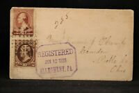 Pennsylvania: Allegheny 1885 Registered Cover to Ohio, Large Violet Marking