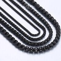 20pcs/Lots Black Stainless Steel Box Chain Necklace for Men Women Wholesale Bulk