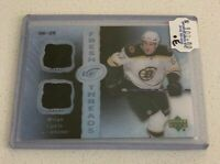 K124 - MILAN LUCIC - 2007-08 UD ICE FRESH THREADS - DUAL JERSEY - #6/25 - BRUINS