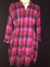 Pink Victoria's Secret Plaid Tunic Mini Shirt Dress Sz Med Rhinestones Dog Logo