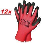 12x Gants de Travail Gr 10 Latex Nylon Rouge Mécanicien Protection