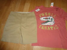 Nwt baby Gap boys outfit size 7 8 dinosaur fossil fanatic top beige shorts 7