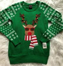 Women's Ugly Reindeer Christmas Sweater Long Sleeve Bells NWT Size Small