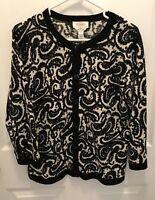 Talbots Women's Cardigan Sweater L PL Petite Button Front Soft Merino Wool