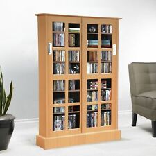 Maple Finish Wood Media Cabinet 7 Shelf CD DVD Storage Tower Glass Door  Display