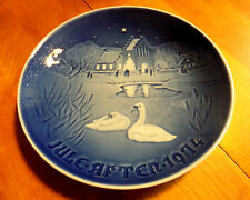 1974 B & G Cobalt Jule Aften Xmas Eve Plate Christmas in the Village Denmark