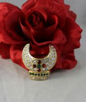 Vintage Red Green & White Rhinestone Gold tone   Pin Brooch CAT RESCUE