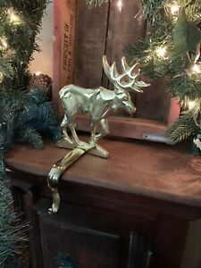 Moose Gold Toned Christmas Stocking Holder Hanger Solid Great Quality Piece