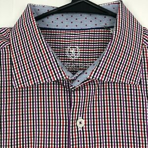Bugatchi Uomo Mens Size 17.5 36/37 Button Front Long Sleeve Dress Shirt Red